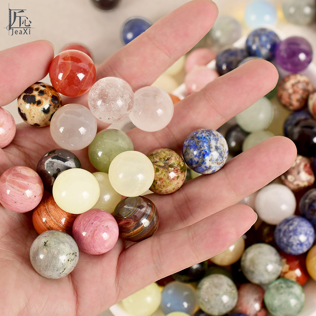 10 pcs /lot Gems Crafts Crystal Ball Precious 18 mm Natural Stone Sphere Chakra Healing Reiki Carving Craft Decorative bead