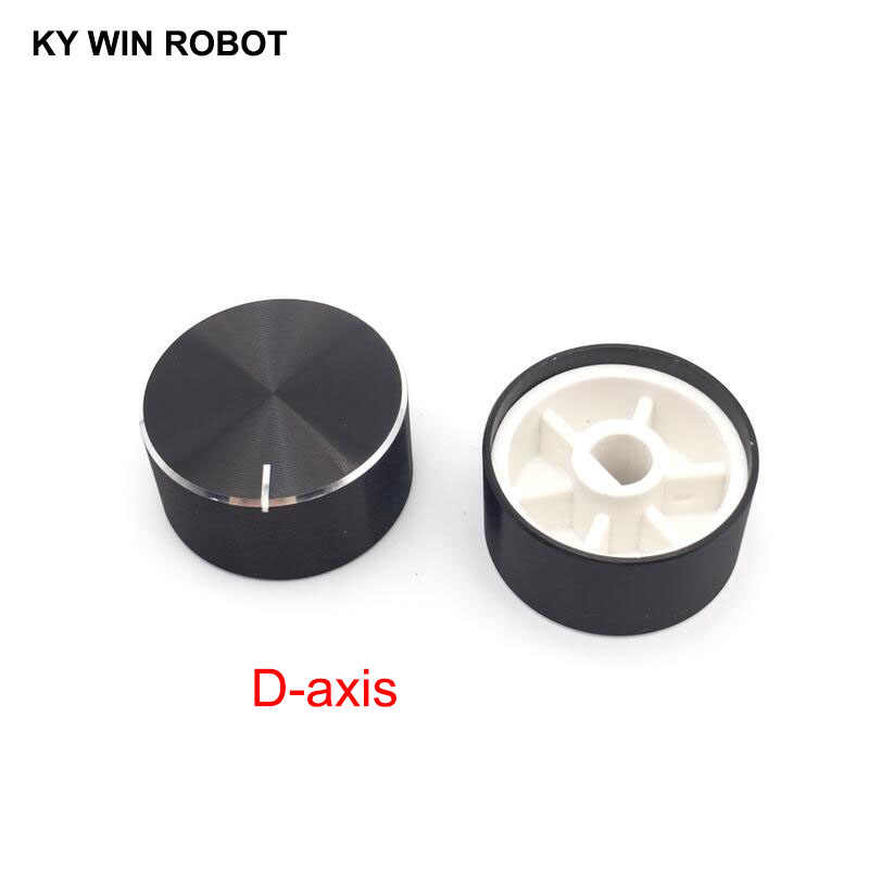 1 pcs 25x13mm 6mm Shaft Hole Aluminum Alloy Potentiometer Knob Black (D-axis)