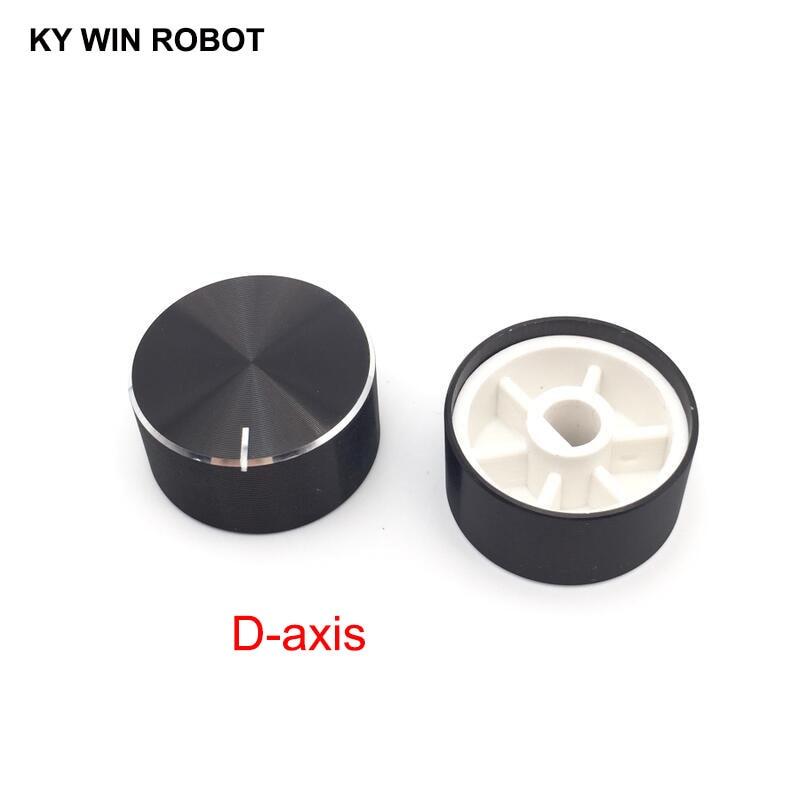 1 Pcs 25x13mm 6mm Shaft Hole Aluminum Alloy Potentiometer Knob Black (D-axis)
