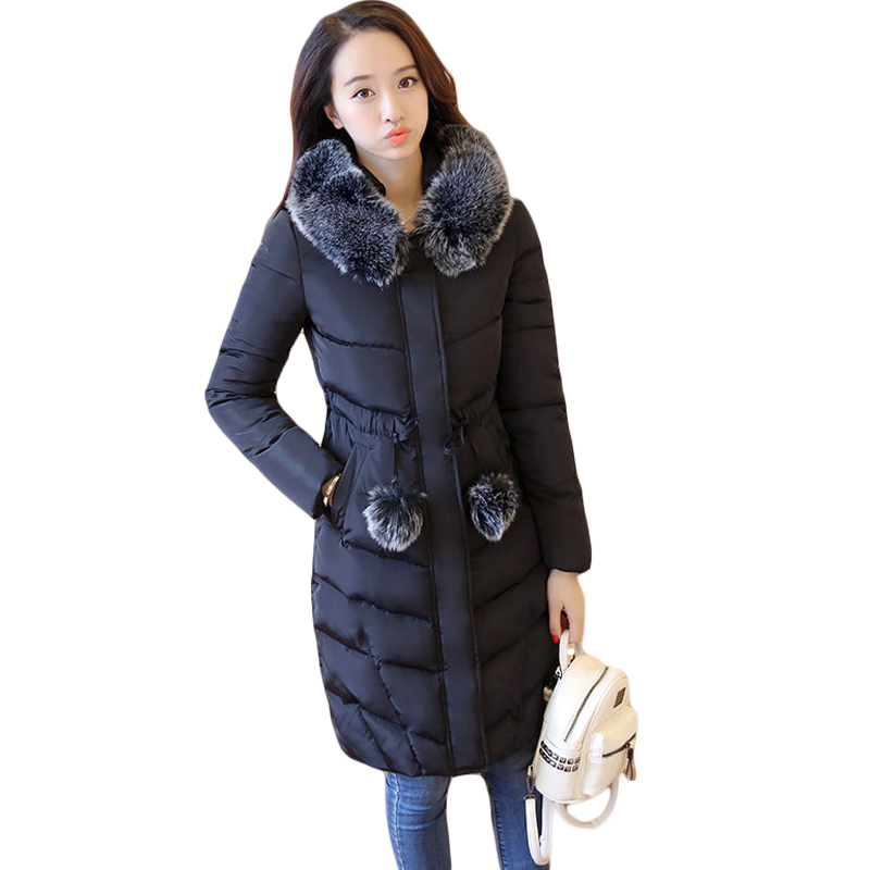 2017 New Winter Jacket Women Elegant Long Slim Large Fur Collar Hooded Down Cotton-padded Parkas Female Warm Wadded Coats CM1750 women elegant winter warm long coat down padded jacket slim fur collar hooded parka coats 2017 female slim long parka with belt