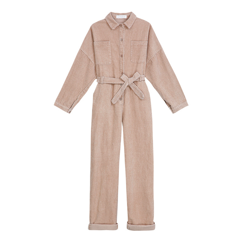 Jumpsuits Perhaps U Women Blue Black Corduroy Jumpsuit Turn Down Collar Long Sleeve Button Pocket Casual Solid Winter Autumn J0041 Beneficial To Essential Medulla