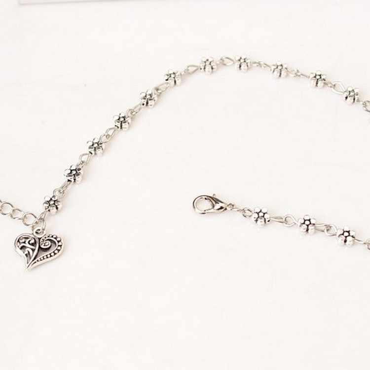 Ретро Серебряный полый Сливовый цветок перо Орхидея сердце ножной браслет для женщин ножной браслет ювелирные изделия ноги
