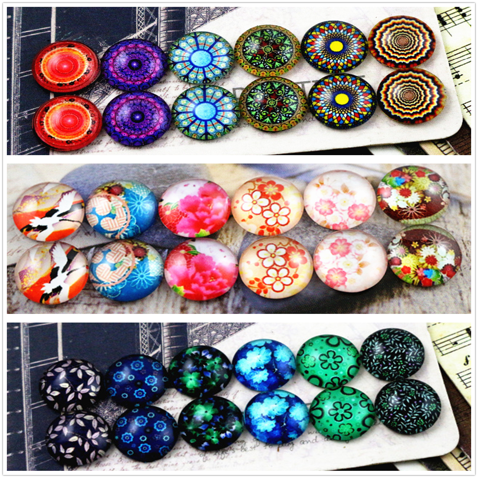 12pcs/lot (One Set) Three Style 12mm Retro Flowers Handmade Glass Cabochons Pattern Domed Jewelry Accessories Supplies