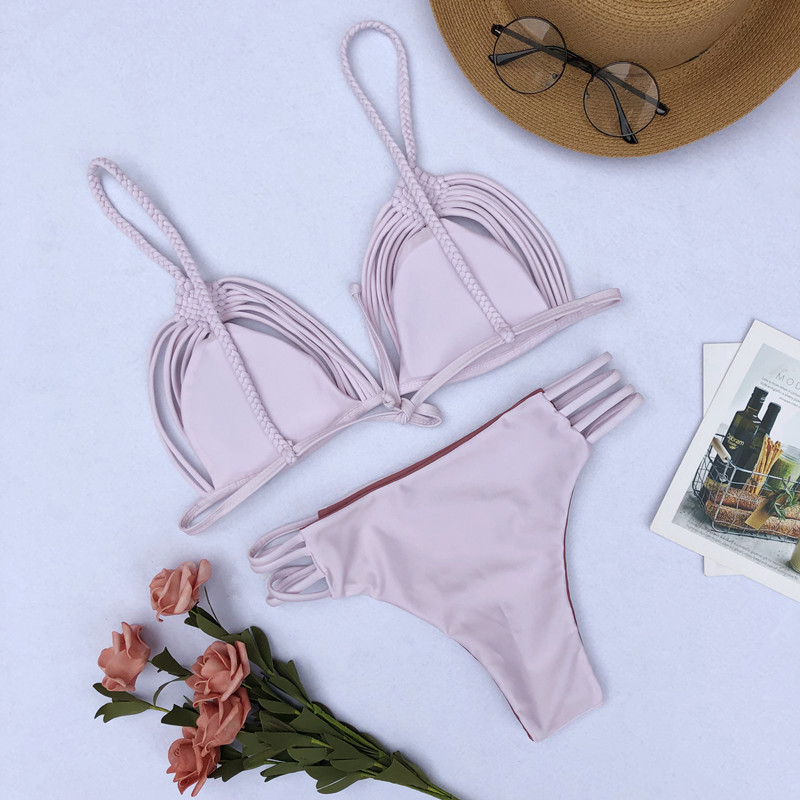 2019 Crochet Micro Bikini Knitting Mini Swimwear Pink Beachwear Push Up Padded Bra Swimwear Women Cut Out Maillot de Bain femme in Bikinis Set from Sports Entertainment