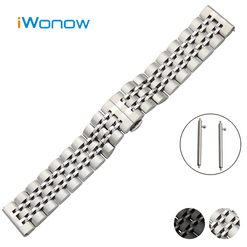 Stainless Steel Watch Band 20mm for Ticwatch 2 42mm Quick Release Strap Butterfly Buckle Wrist Belt Bracelet Black White + Tool 20mm stainless steel watch band curved end strap for ticwatch 2 42mm butterfly buckle wrist belt bracelet black silver tool