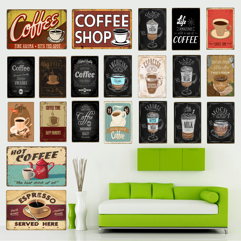 1Pc Vintage Metal Iron Sign Coffee Shop Cafe Decorative Painting Bar Plaques