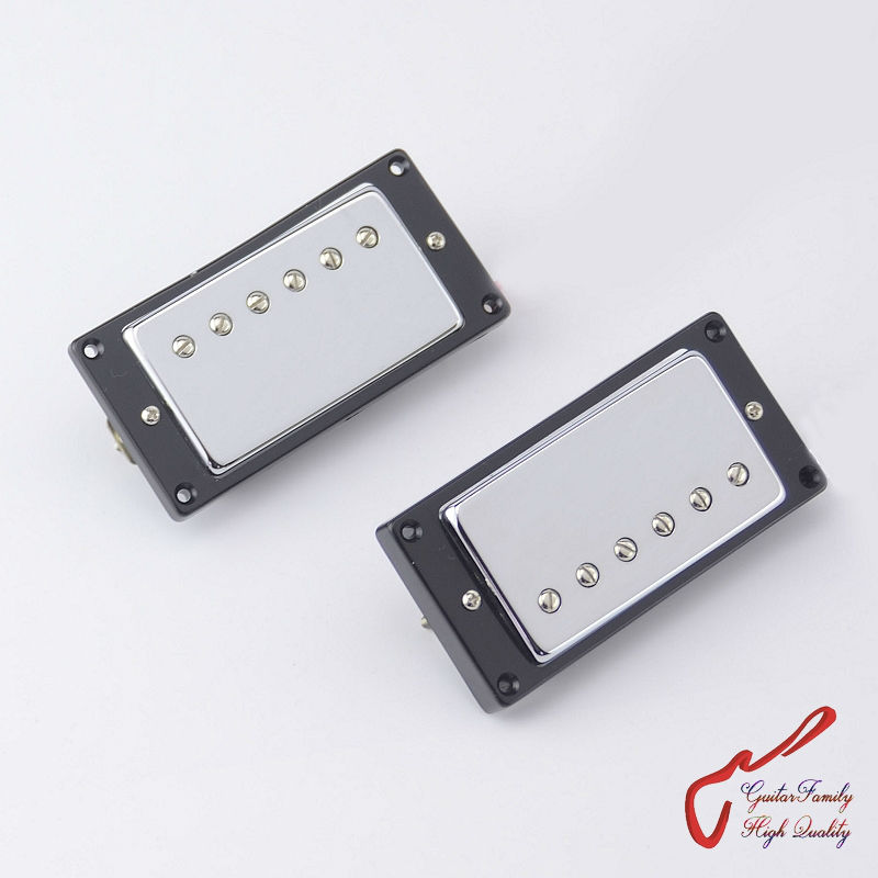 1 Set GuitarFamily Electric Guitar Alnico Humbucker Pickup For LP  Chrome Cover  ( #0413 ) MADE IN KOREA belcat electric guitar pickups humbucker alnico 5 humbucking bridge neck chrome double coil pickup guitar parts accessories