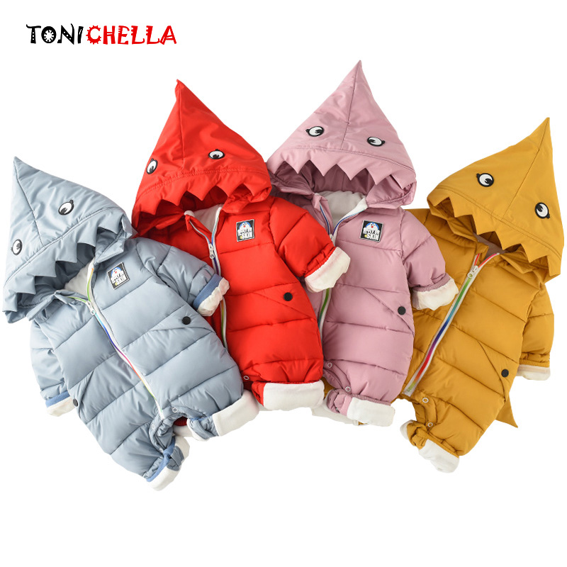 Baby Cotton Rompers Climbing Clothes Hooded Children Kids Thick Winter Autumn Cartoon Siamese Clothing Infant Jumpsuit CL5084 cotton baby rompers set newborn clothes baby clothing boys girls cartoon jumpsuits long sleeve overalls coveralls autumn winter