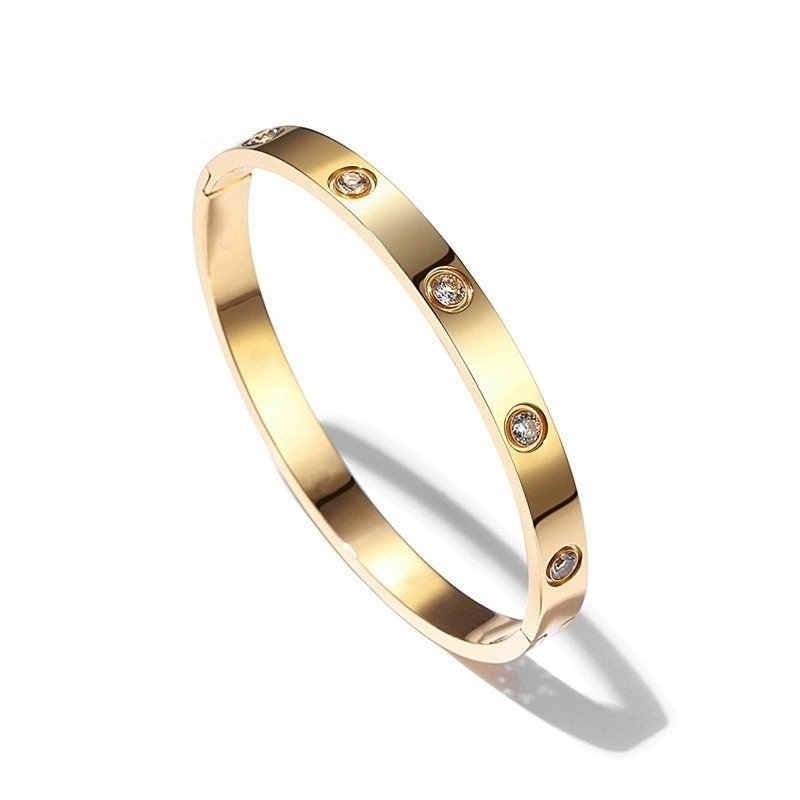 Hot luksusowe różowe złoto bransoletki ze stali nierdzewnej dla kobiet bransoletki na zawsze kochanka marka Charm bransoletka z cyrkoniami damska biżuteria prezent