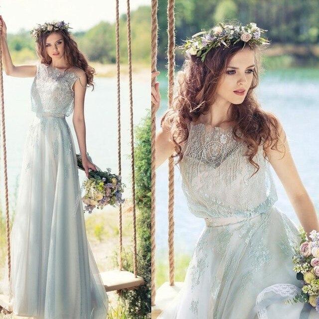 2017 Modest Encaje Vestidos de Novia Para La Boda Al Aire Libre de ...