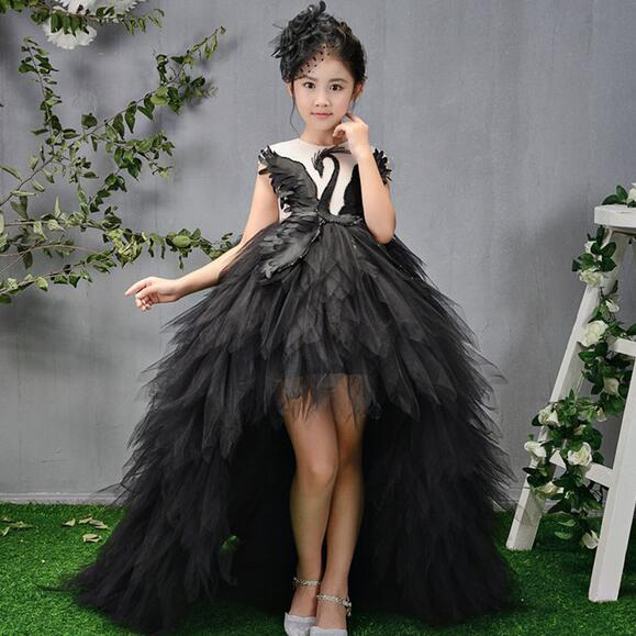 ba2921dde7e Luxury Long Trailing Flower Girl Dress Beading Ball Gown Kids Pageant Dress  Birthday Stunning Swan Feather