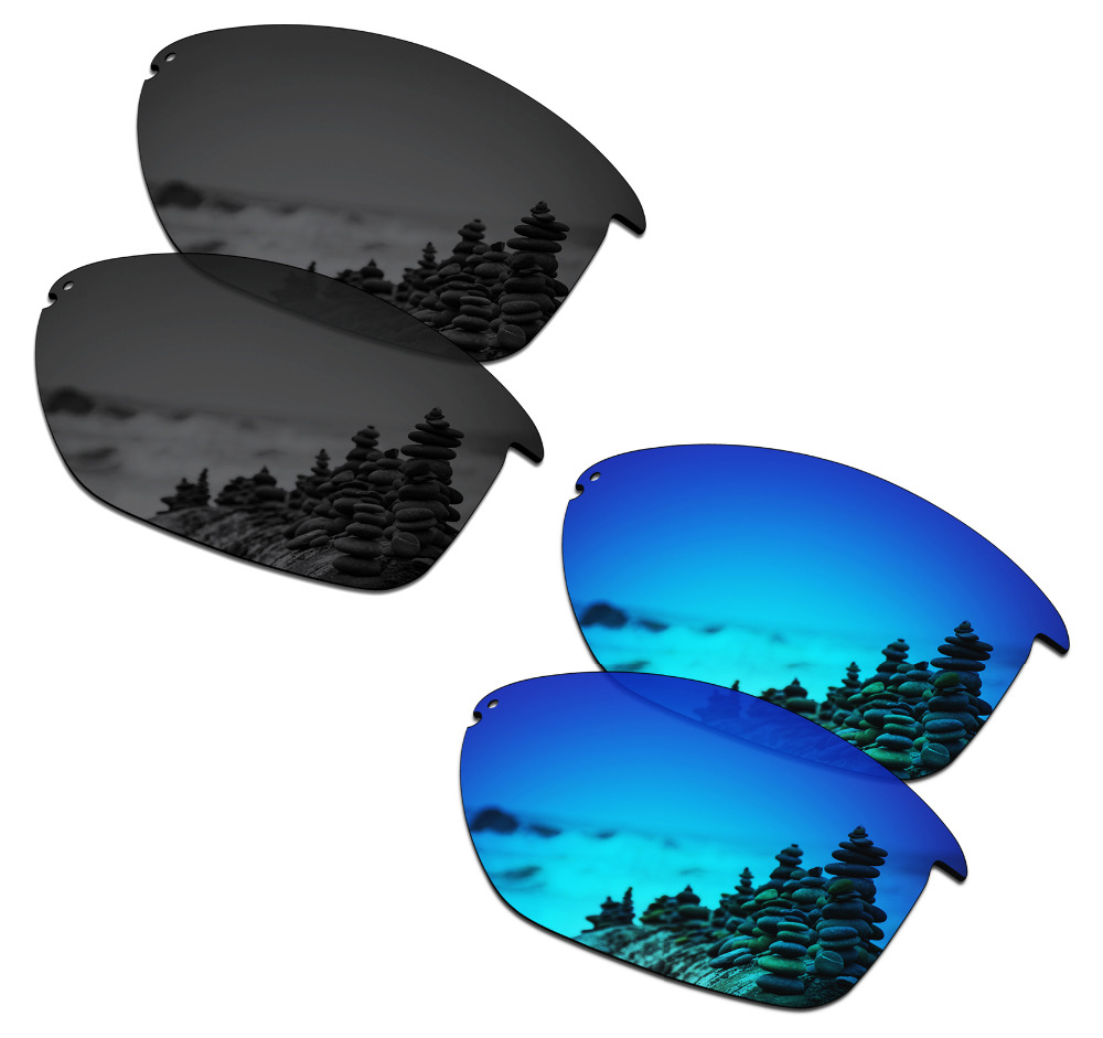 SmartVLT 2 Pairs Polarized Sunglasses Replacement Lenses for Oakley Unstoppable Stealth Black and Ice Blue