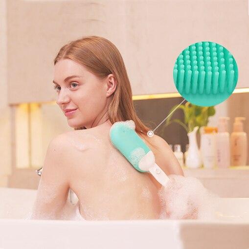 RHS Kit de brosse nettoyante électrique étanche pour le visage et le corps avec tête et poignée exfoliantes en Silicone souple 2 couleurs livraison gratuite