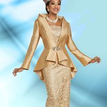 Кружевное платье из двух частей длиной до колена с длинным рукавом vestido novia свадебное вечернее платье Золотое платье для матери невесты с жакетом