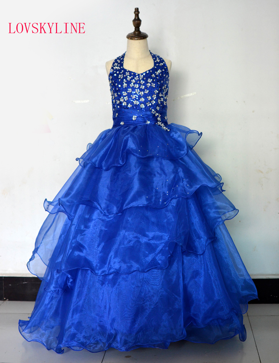 Real photo Royal Blue Sequined Tiered Beading   flower     girls     dresses   for wedding Baby Party frocks sexy kids prom gowns 2018