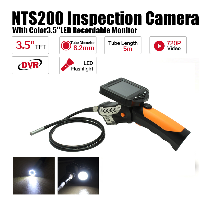 Eyoyo NTS200 3.5 Display Monitor 5M Snake Inspection Endoscope Borescope Tube 8.2mm Camera