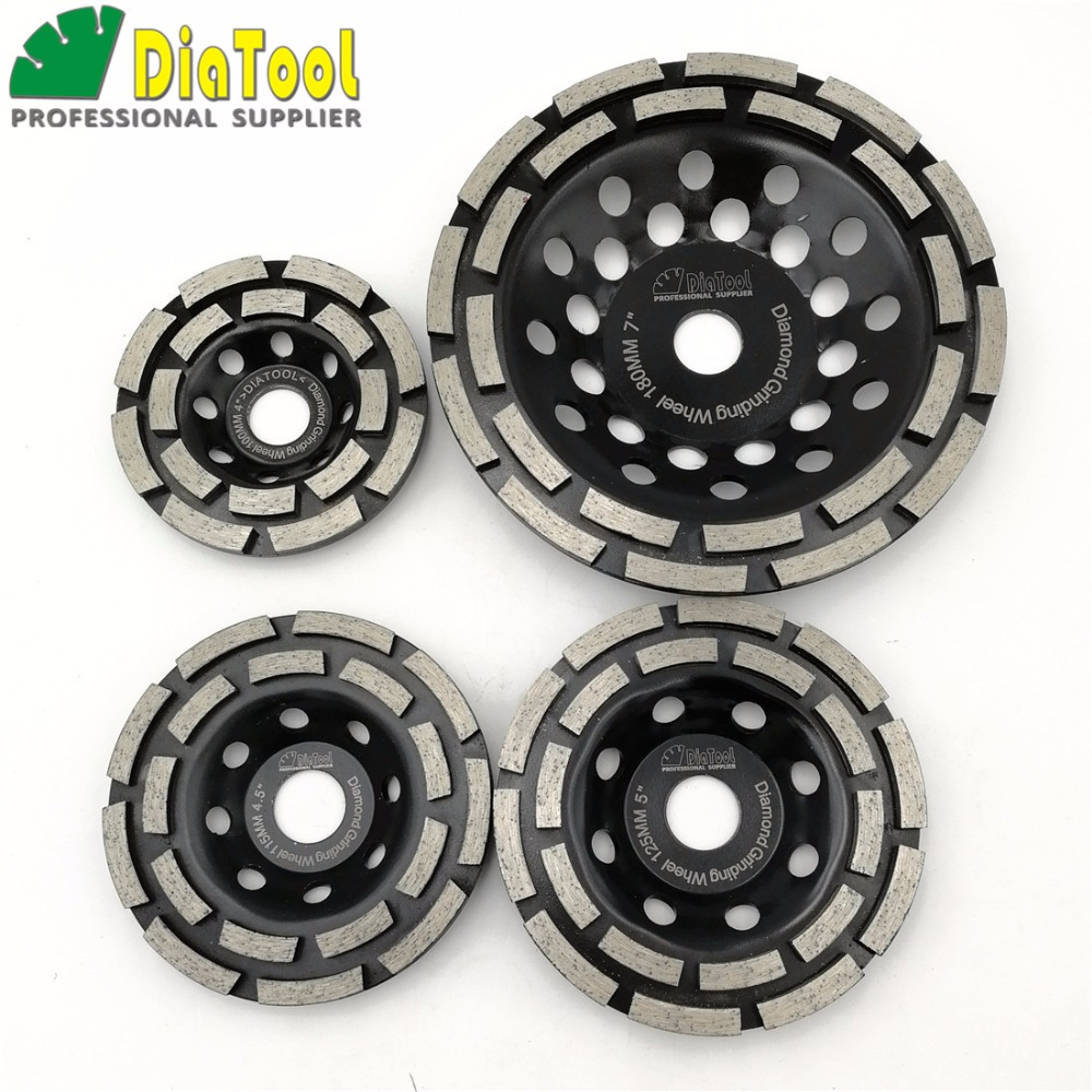 DIATOOL 1pc Diamond Double Row Grinding Cup Wheel 4 inch/4.5 inch/5 inch/7 inch Twin Row Grinding Disc 4 inch 6 inch straight cup diamond grinding wheel for glass edger straight line double edging beveling machine m009 page 5