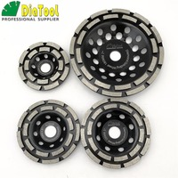 DIATOOL 1pc Diamond Double Row Grinding Cup Wheel 4 Inch 4 5 Inch 5 Inch 7