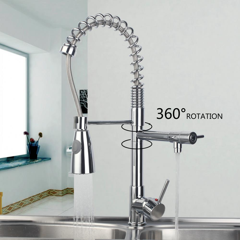 97168D056 2 Pull out Spray Swivel Spout Kitchen Faucet Chrome Wash Basin Sink Vessel Kitchen Torneira