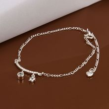 Free shipping wholesale price fashion Insets Star 925 jewelry silver plated women foot anklet top quality SMTA015