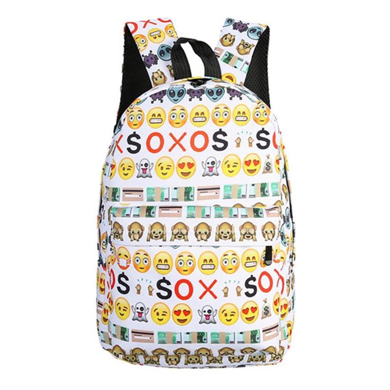 2017 Casual Canvas Travel Backpack 3D Smile Emoji Face Printing School Bag for Teenage Girls Mochila Satchel Rucksack Sac cutie dog shiba inu big smile face canvas backpack canvas school bag xmas gift 45x32x12cm