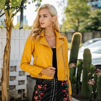 Simplee Rivet PU Leather Jacket Coat Female Outerwear Coats Fashion Basic Jackets Faux Leather Coat Autumn