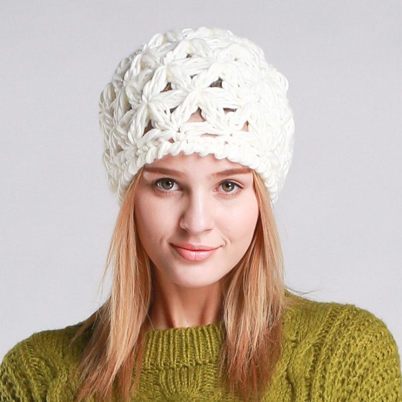 86e06cfc6002 BomHCS Mode Simple Main Tricoté Chapeau D hiver Caps Beanie Chapeaux pour  Femmes