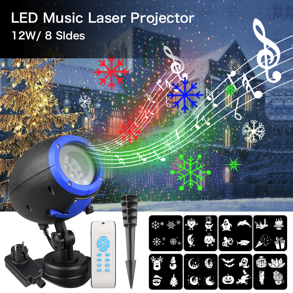 цена на ZINUO Halloween/Christmas Music Laser Projector Light With 8 Patterns IP65 Snowflake/Snowman/Ghost/Pumpkin Film Projector Lamp