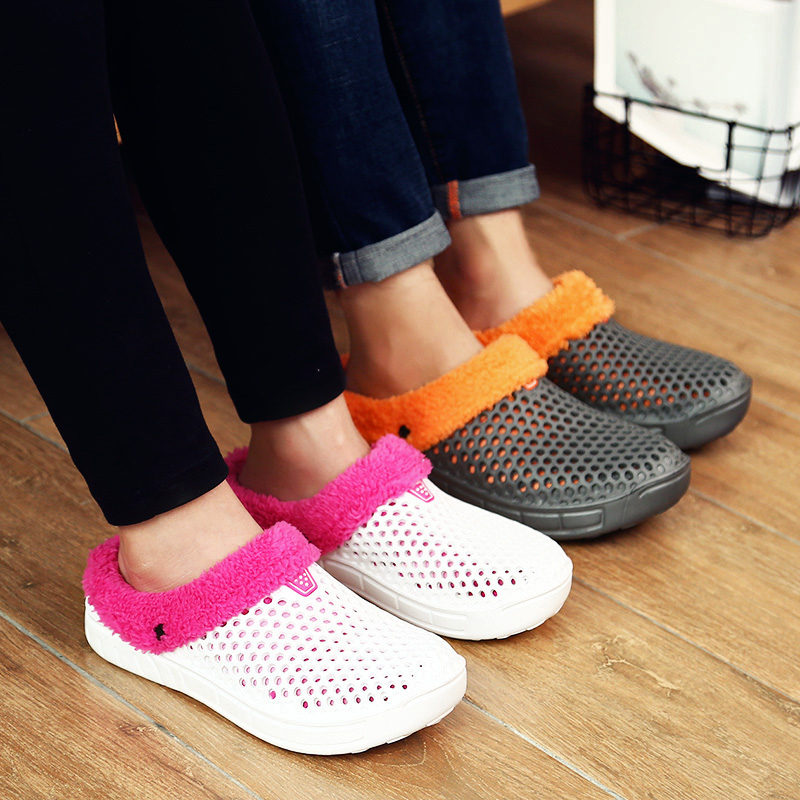 Fashion Men's Indoor footwear Warm Jelly Shoes Men Sandals with Fur 2018 New Winter Fashion Man Flip Flops for Unisex krorche brand new unisex lovers flip flops indoor