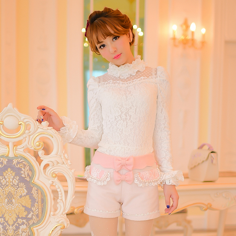 Princess sweet lolita   shorts   Candy Rain autumn refresh Japanese style cute straight zip   shorts   with bow and lace C16CD6130