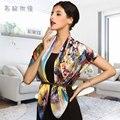 2014 marca nova women100 % mulberry lenços de seda lenço de seda pura meninas grandes primavera pintura floral impresso xales pashmina 97*97 cm