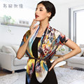 new 2014brand women100% pure silk scarf girls large spring mulberry silk scarves painting floral printed shawls pashmina 97*97cm