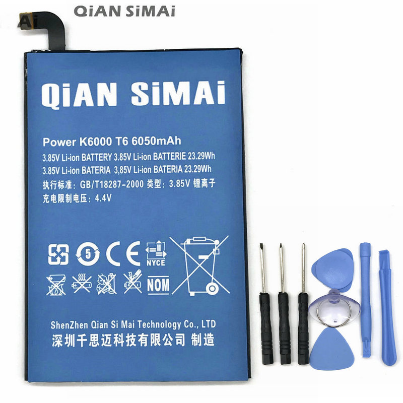 QiAN SiMAi haute qualité 6050 mAh batterie avec Tournevis outils pour ulefone puissance pour DOOGEE T6 pour Oukitel K6000 + Code de suivi