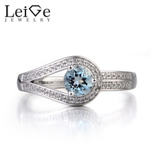 Leige Jewelry Natural Aquamarine Ring Promise Ring March Birthstone Round Cut Blue Gemstone 925 Sterling Silver Ring for Women