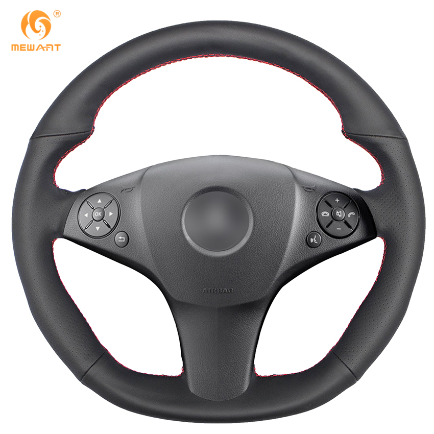 Black Genuine Leather Car Steering Wheel Cover for Mercedes Benz SLR-Class 2009 SL-CLass AMG 63 65 2009-2012 SLK-Class AMG 55 yandex w205 amg style carbon fiber rear spoiler for benz w205 c200 c250 c300 c350 4door 2015 2016 2017