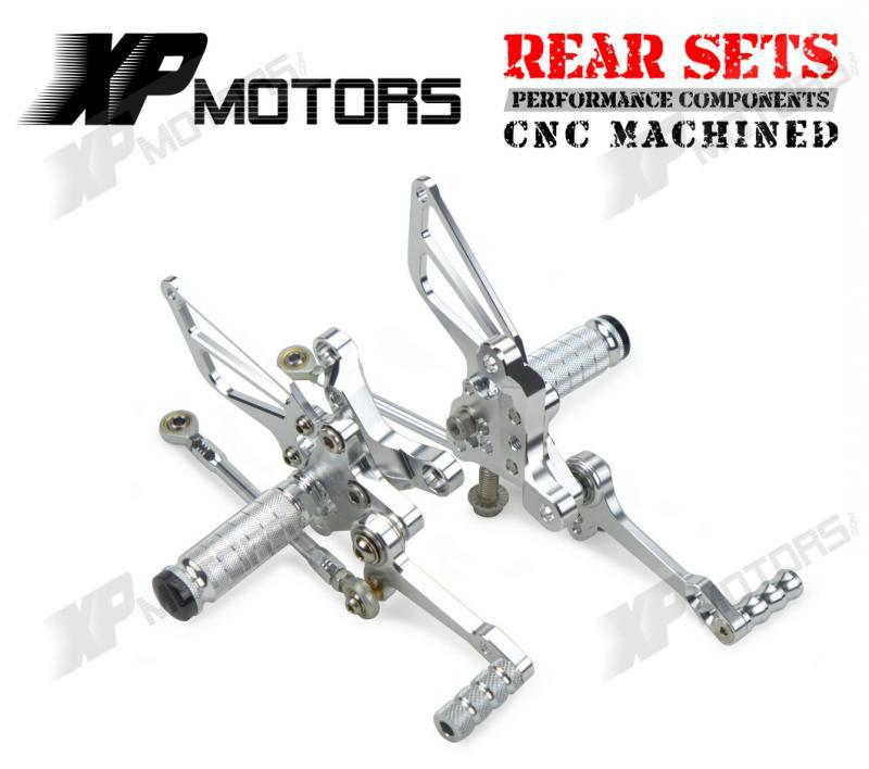 Silver Racing CNC Billet Rear Sets Foot Pedals Pegs For Ducati 848/1098/1198 R