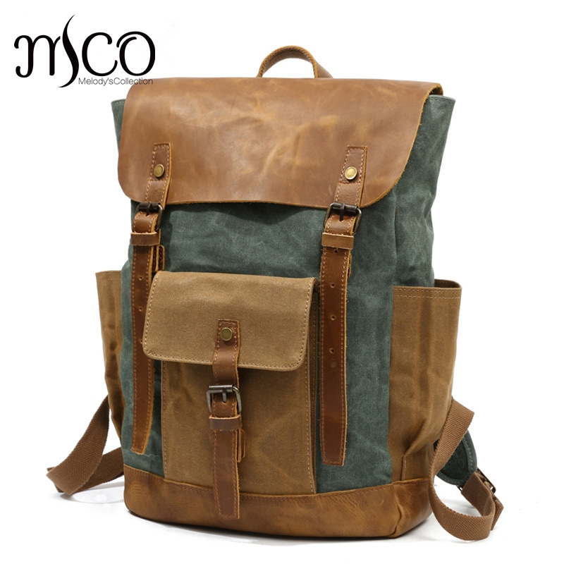 Vintage Waxed Canvas Men Backpack Large capacity Military Oiled Leather School Backpack Male Rucksack Waterproof Travel Bag men s casual bags vintage canvas school backpack male designer military shoulder travel bag large capacity laptop backpack h002