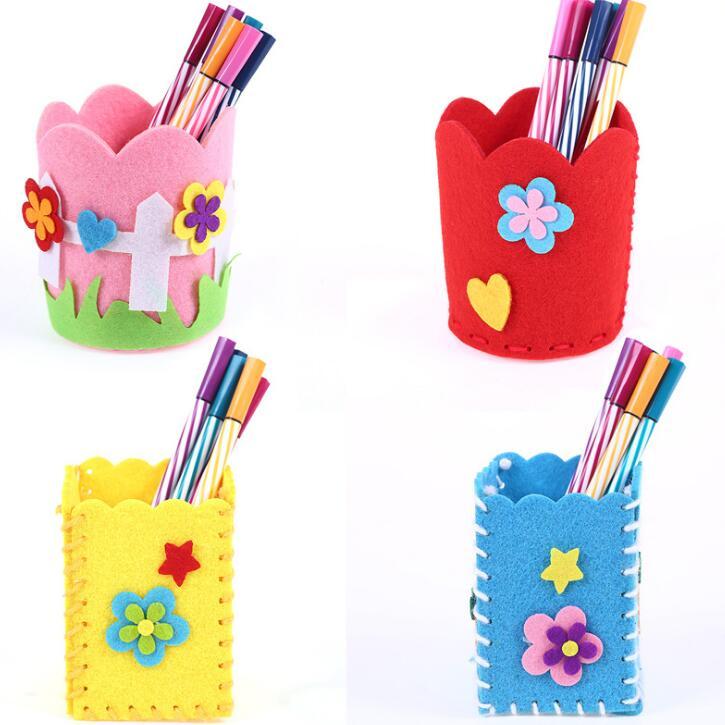 No Free Shipping/ Children's Handmade Cloth Pencil Vase DIY Toy Kindergarten Girls Toys Creative Material Non-woven BS79