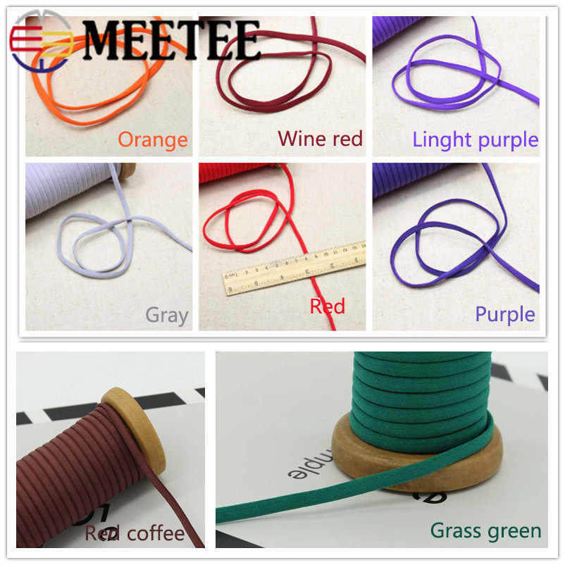Meetee 23yards 5mm Rope Elastic Band Rope Ribbon Shoulder Strap Belt Hair Band Baby Hair Ring Shoes DIY Handmade Accessory BD393