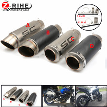 for Motorcycle Exhaust Pipe Muffler Inlet 51mm 61mm SC Exhaust Mufflers Carbon Fiber Exhaust Pipe With Sticker Laser Logo mt09 7