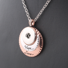 2017 New 2 Colors Fashion Beauty pendant Hope&Love Snap necklace fit DIY 18MM snap buttons jewlery wholesale women ZG054