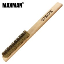 MAXMAN 5x20 Row Beech Wood Handle Brass Wire Brush Copper for Industrial Devices Surface/Inner Polishing Grinding Cleaning