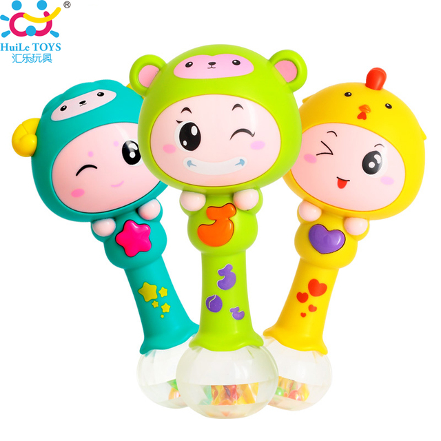 Baby Plastic Dynamic Rhythm Stick Hand Rattles Kids Musical Party Favor Child Baby Shaker Sand Hammer Toy Musical Instrument Toy