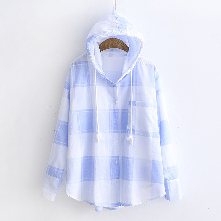 Lattice Sunscreen Clothing Female Loose BF Harvests Long Sleeved Coat Summer Hooded Cardigan Short Female Causal New Jacket
