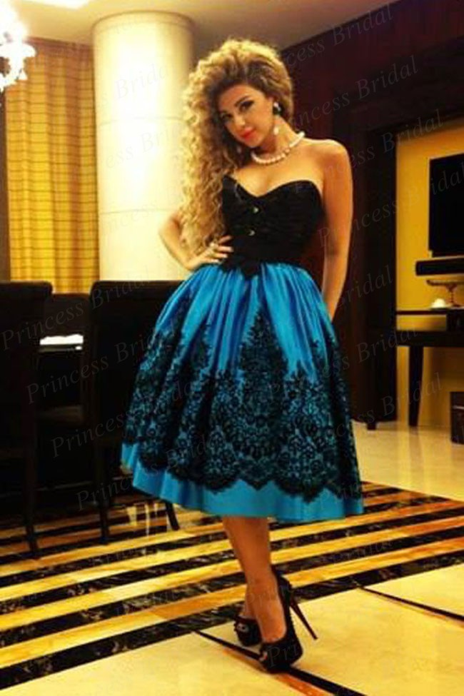Black Appliques Royal Blue Satin Ball Gown Celebrity Dress 2019 Fashionable Sweetheart Tea-Length Short Evening Dresses