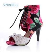 Vnasell новые пикантные женская обувь сладкий сетки высокая помощь Босоножки красивые сандалии на высоком каблуке размер 32-43