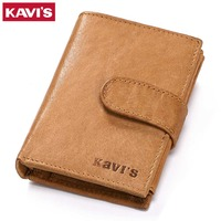 KAVIS Cowhide Genuine Leather Men Wallets Hasp Design Passport Cover Male Purse Vintage Credit Card Holder