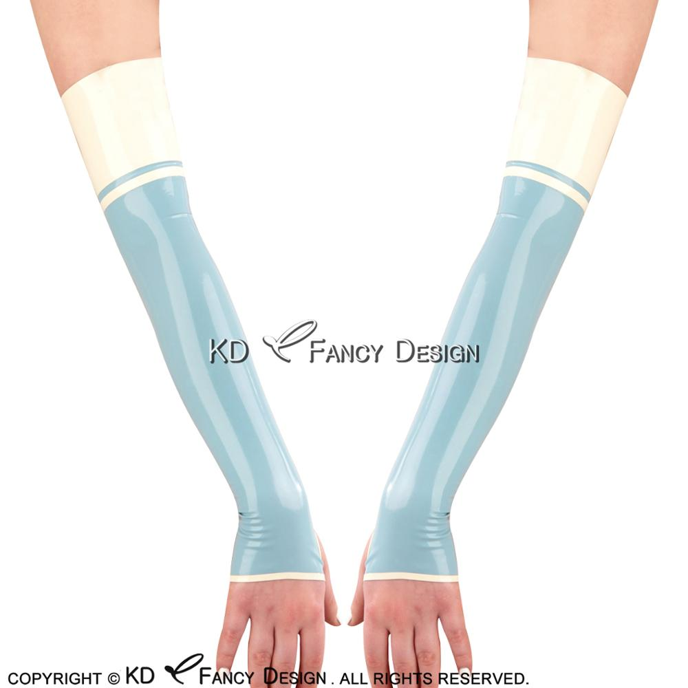 Lake Blue With White Stripe Decorations Sexy Long Latex Gloves Fingerless Rubber Mittens ST-0042