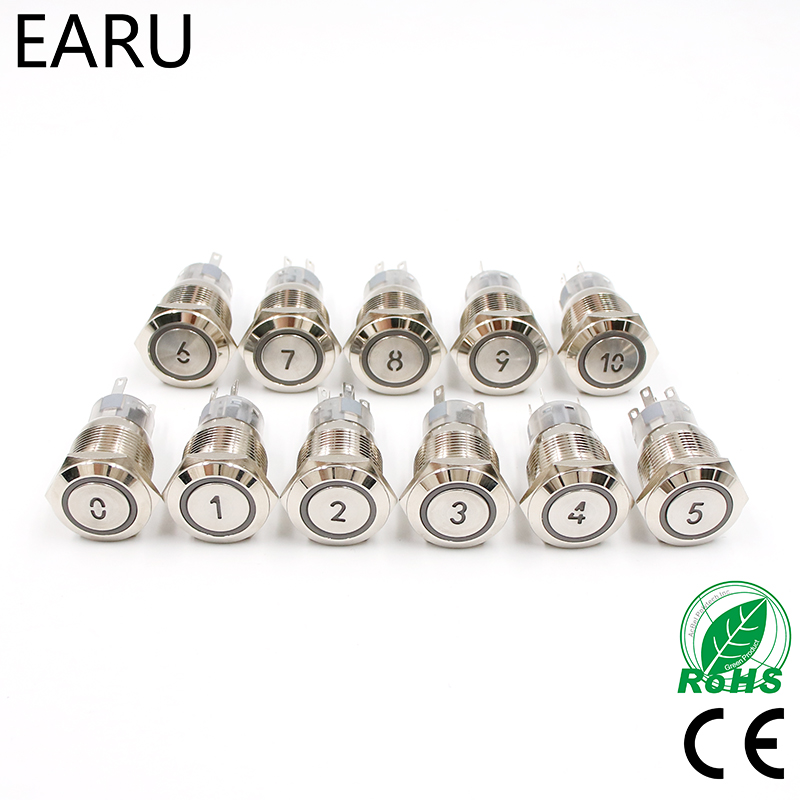 19mm Momentary Reset Waterproof Metal Push Button Switch Led Number Letter <font><b>0</b></font> 1 2 3 4 <font><b>5</b></font> 6 7 8 9 <font><b>10</b></font> Elevator Lift Custom-made image