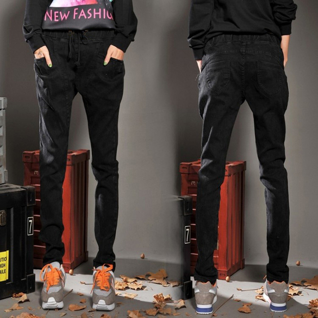2017 Fashion Women Jeans Spring High Elastic Waist Plus Size 4XL Women Black Jeans Woman Femme Washed Casual Skinny Harem Pants